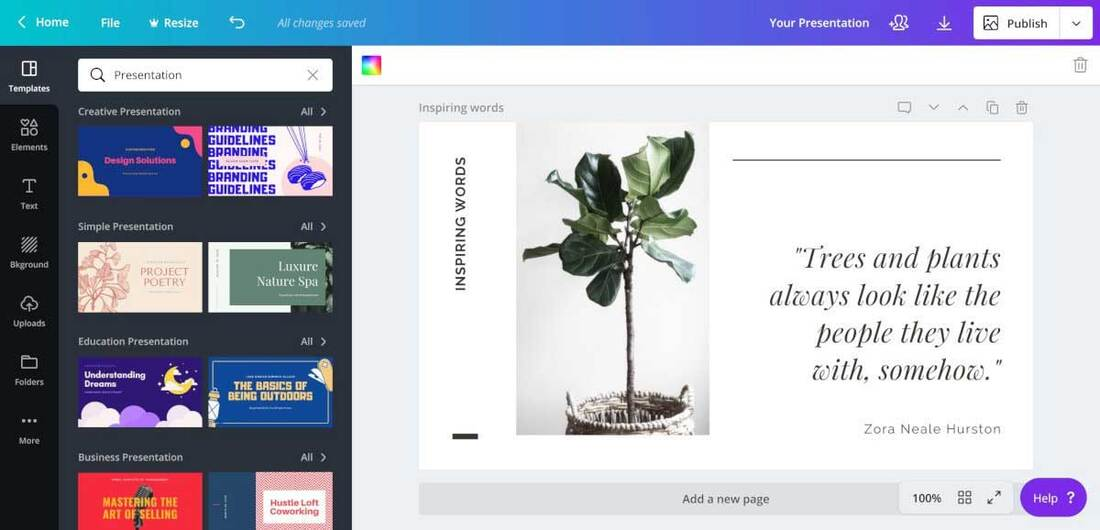 Image contains the canva software