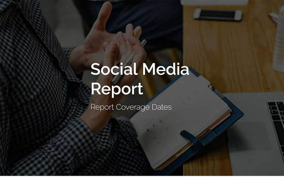 Image contains a social media report template