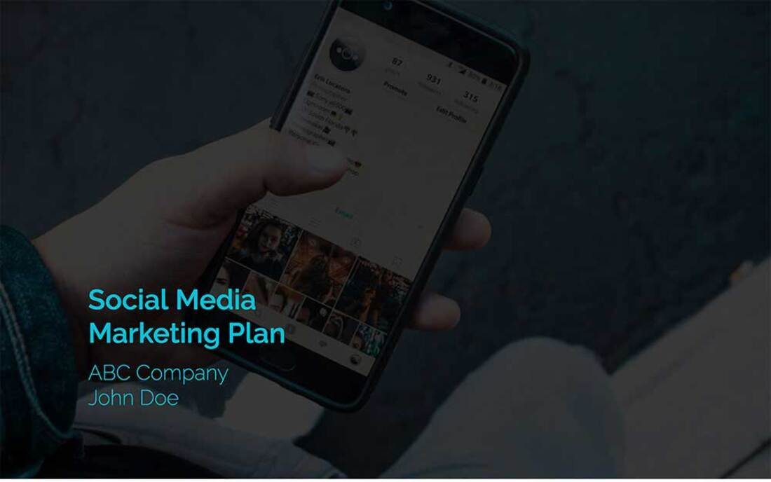 Image contains a social media marketing plan template