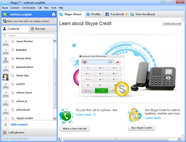 When did Skype come out? An image of early skype menu, featuring contacts and main menu