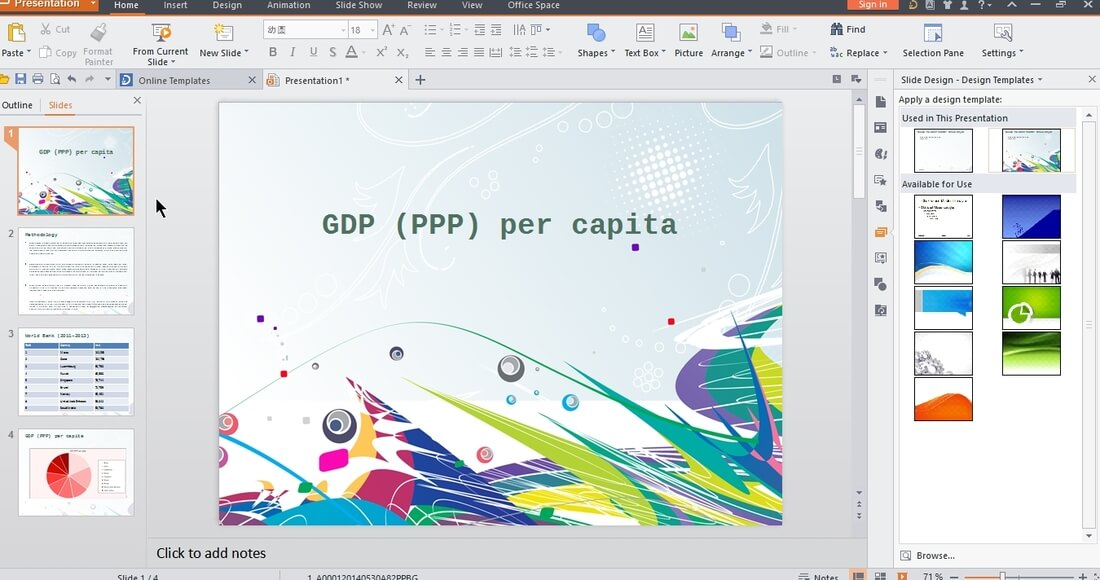 Image contains the wps presentation software