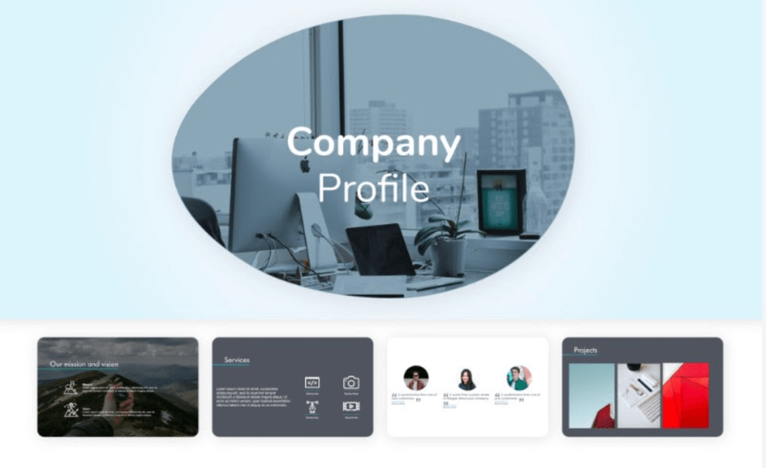 Image contains a company profile pitch decks