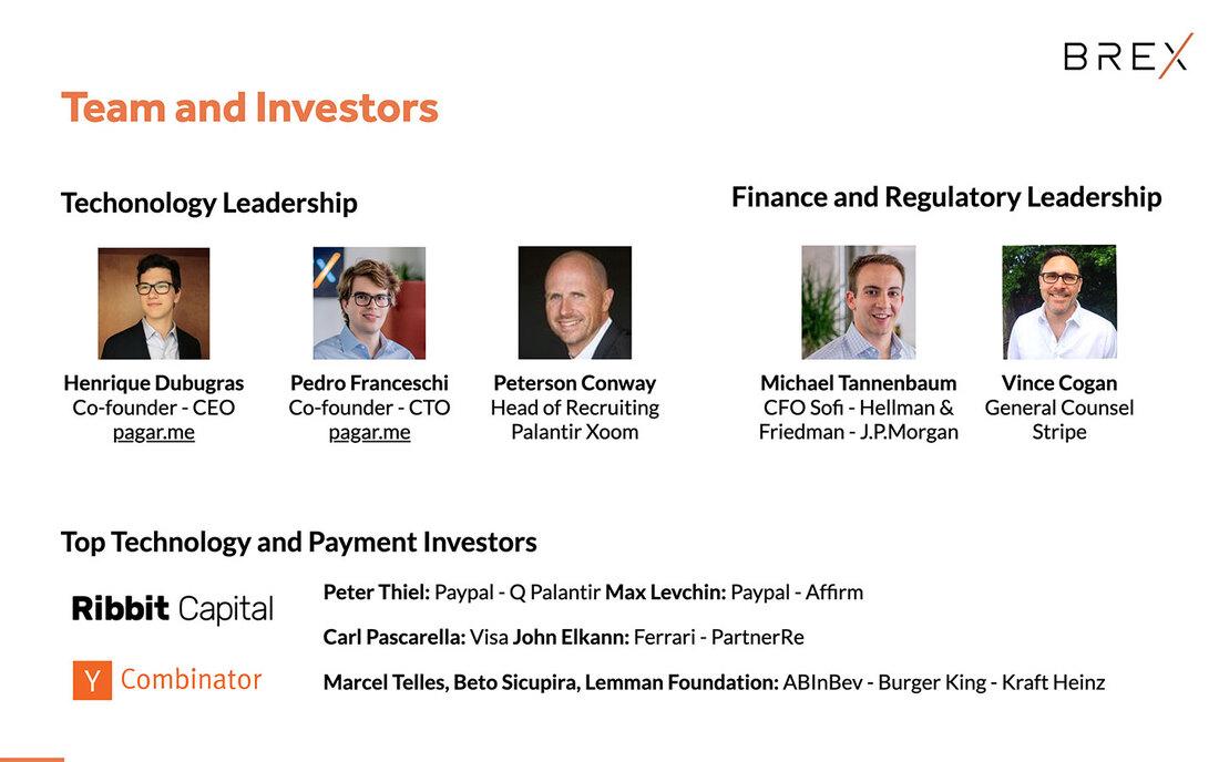 Image contains brex team and investors