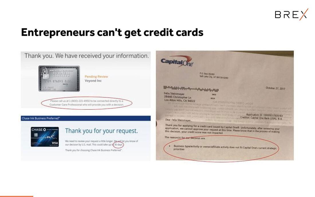 Image reads, entrepreneurs can'tget credit cards