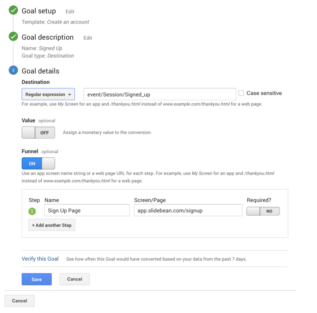 Image contains google analytics goal definition
