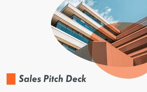 Sales pitch deck template, image contains a computer