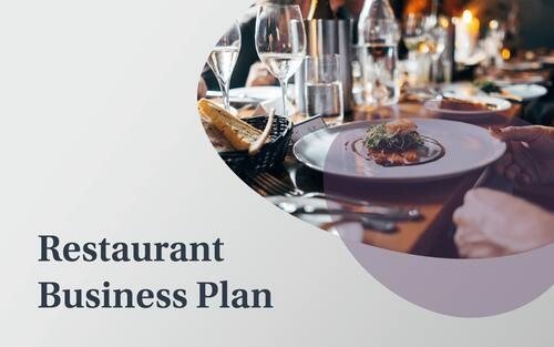 A restaurant business plan example slide in a computer