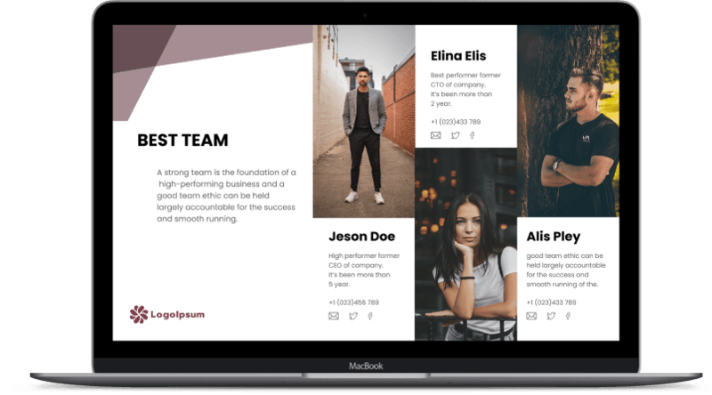pitch deck template on screen