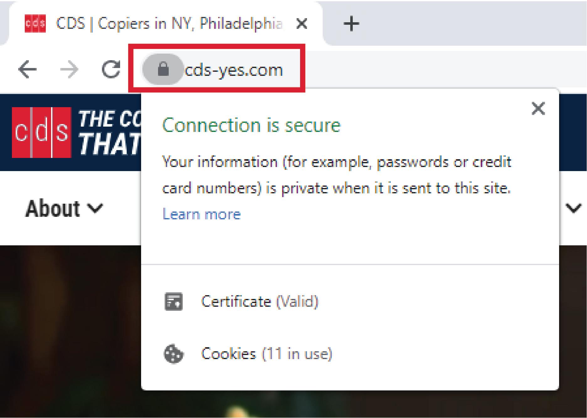 Google Chrome's address bar on a secure website.
