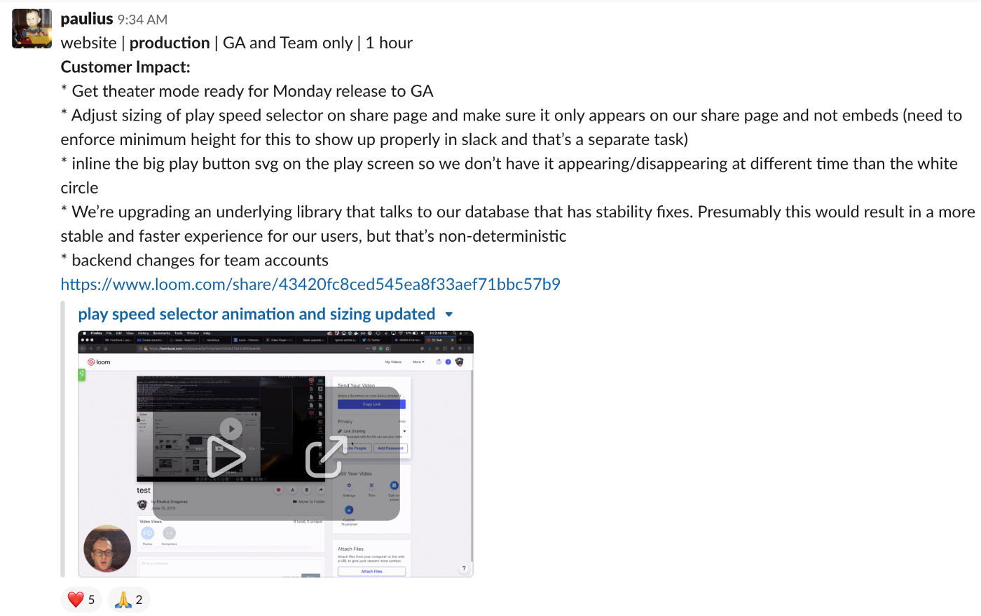 A screenshot of the Loom video player as it appears inline in Slack.