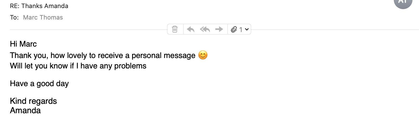 A screenshot of an email from a new user to Marc that mentions the personal loom video was nice to receive.