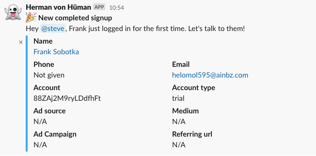 A screenshot that shows an example of a new user notification from our Slackbot.