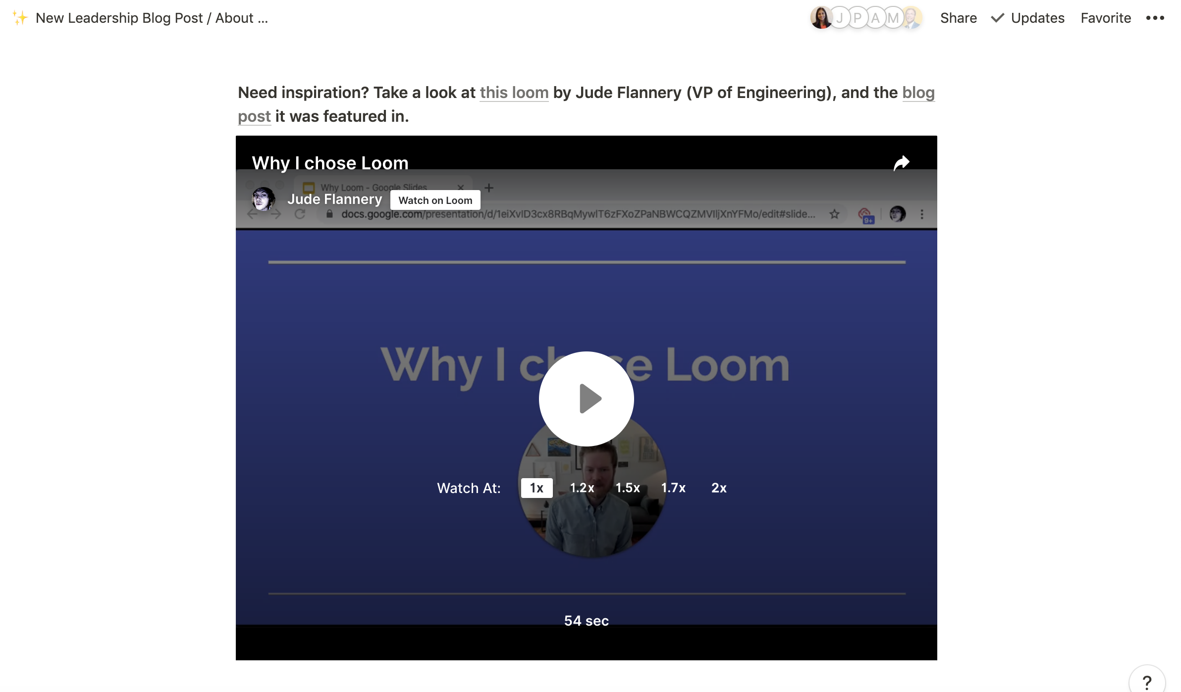 A screenshot of how to embed a Loom video in a Notion page.