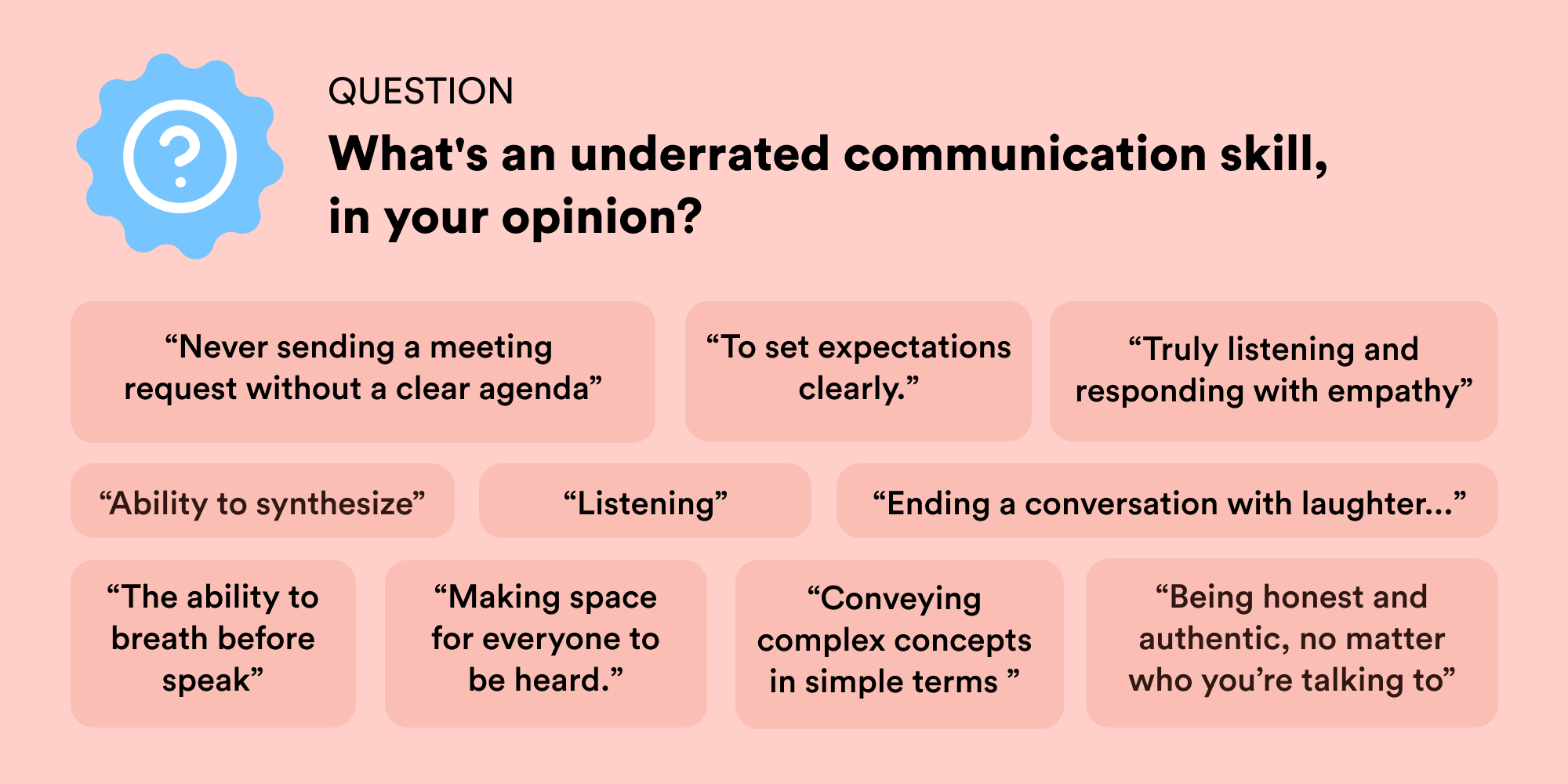 A visualization of some responses to a question on Twitter about underrated communication skills.
