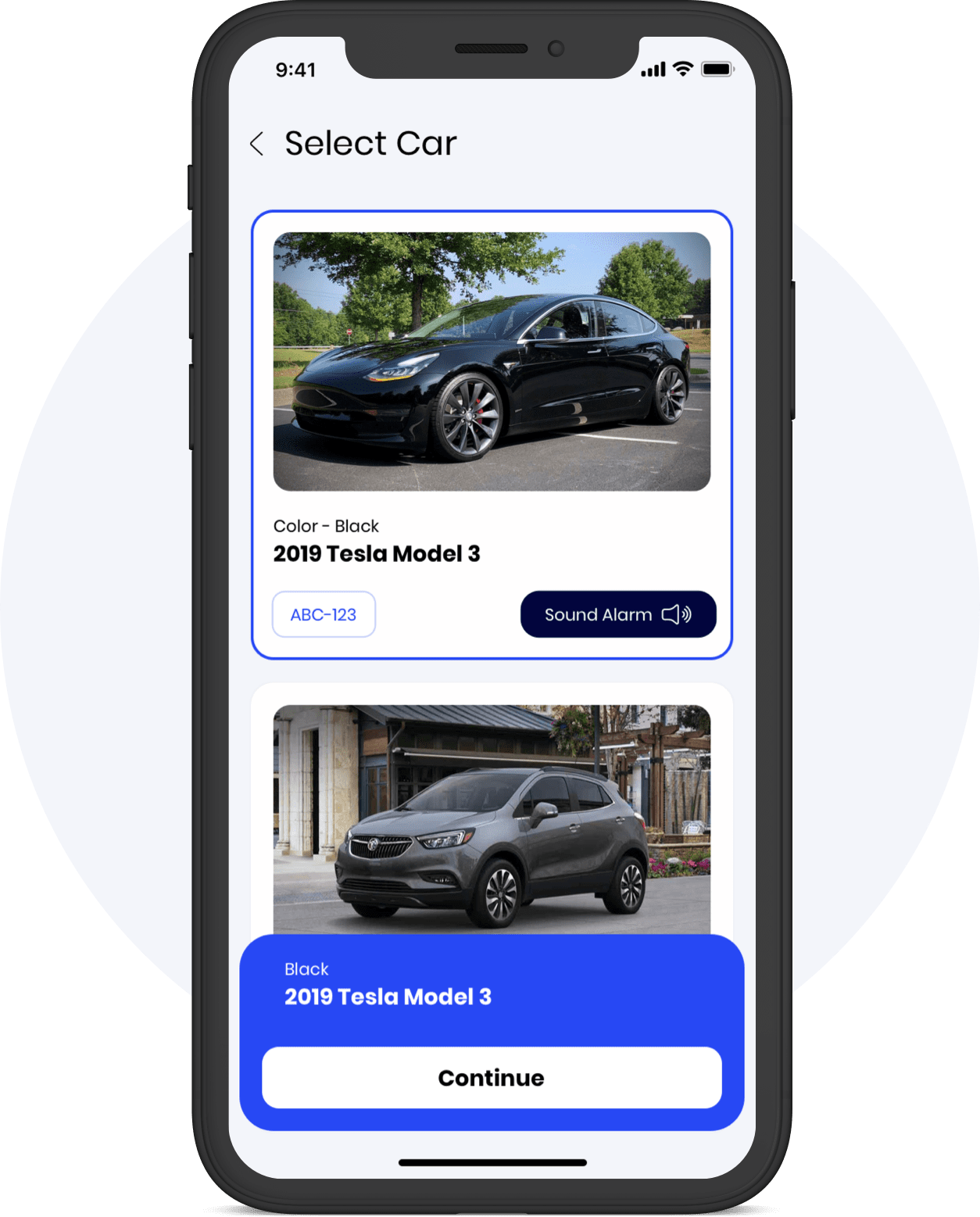 Caramel app select car screen