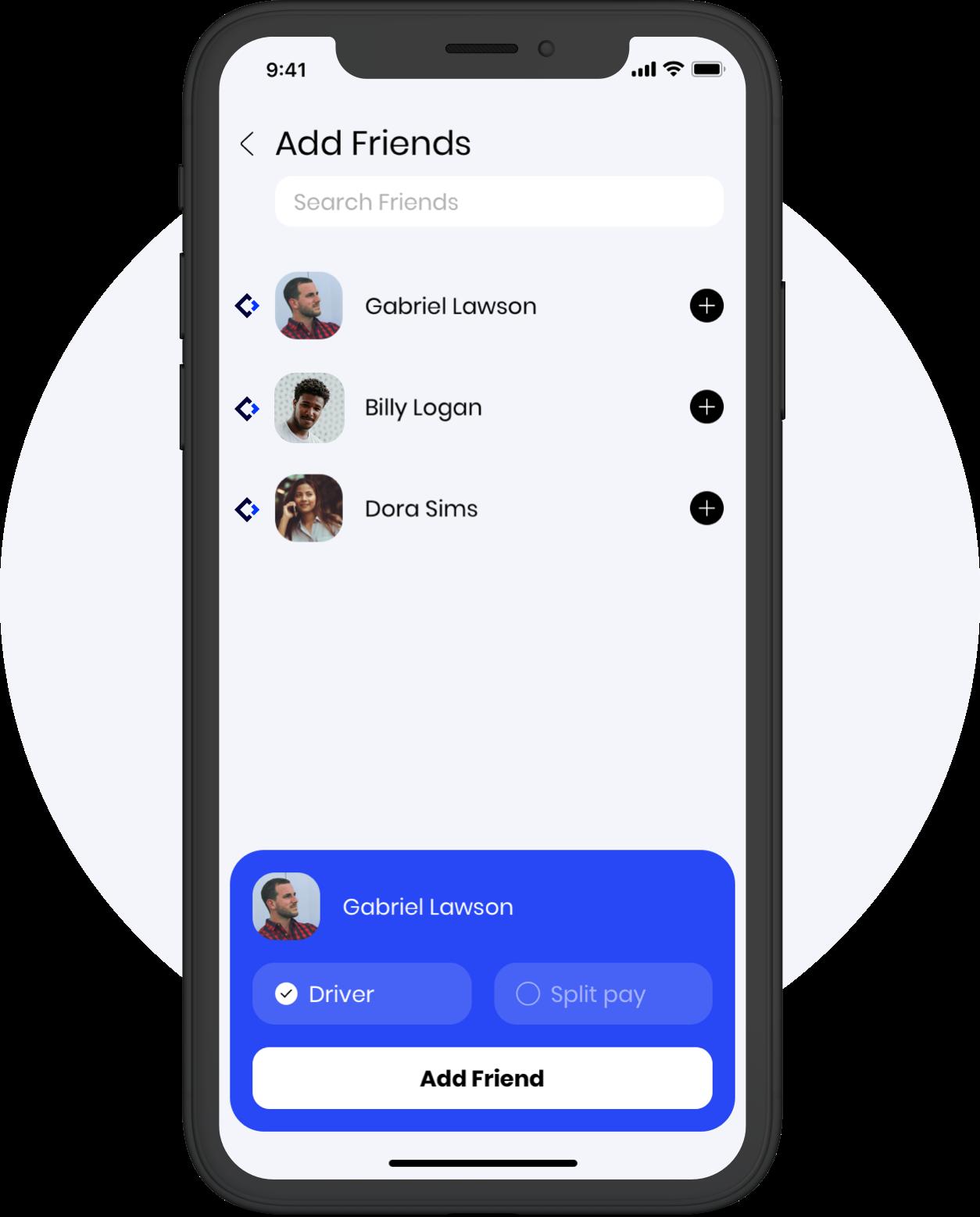 Caramel app add friends screen
