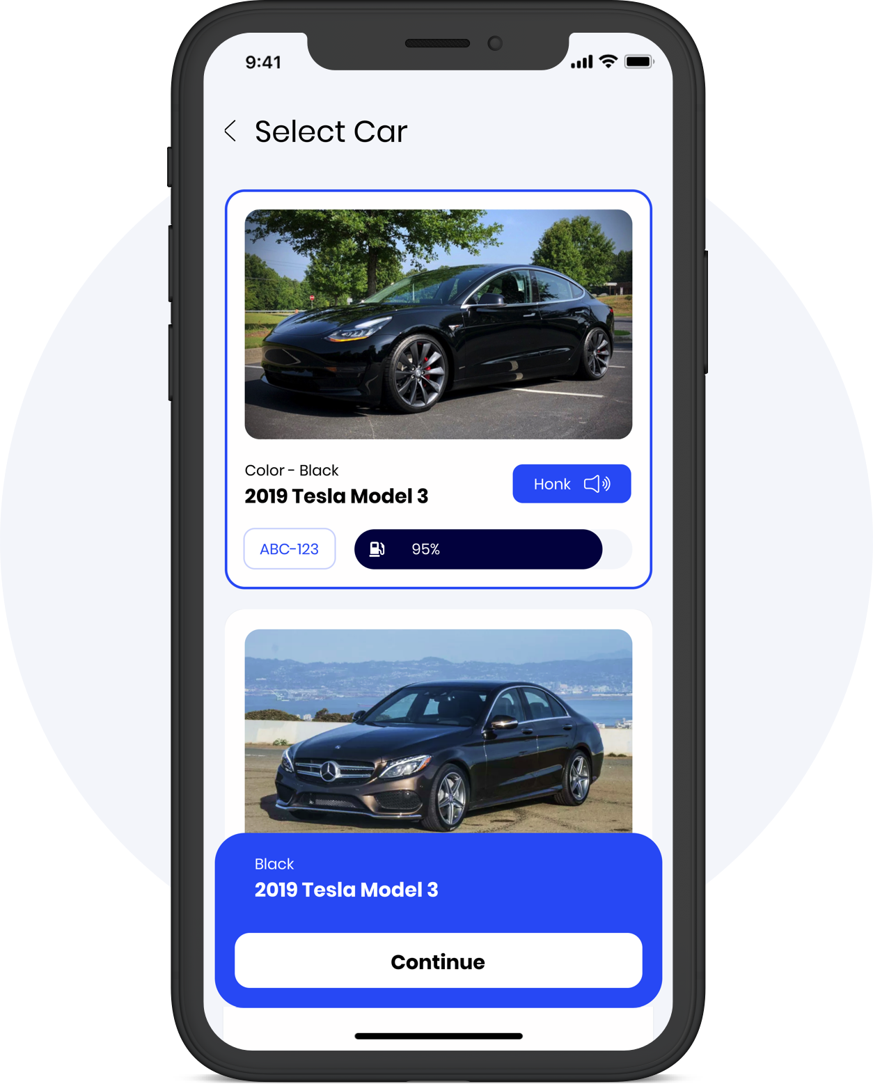 Caramel app select car screen