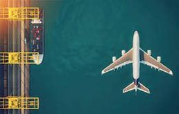Aerial of ship and plane
