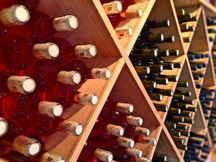 Wine bottles in a rack