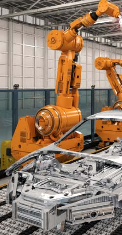 Robot arms assembling an automobile.