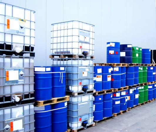Chemical barrels and tanks.
