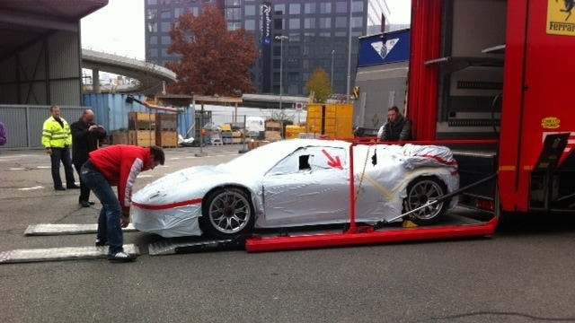 A race car prepared for shipping.