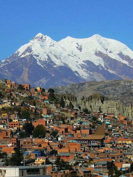 Chilean town with mountain.