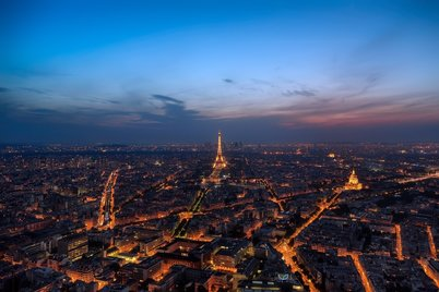 Paris night time cityscape