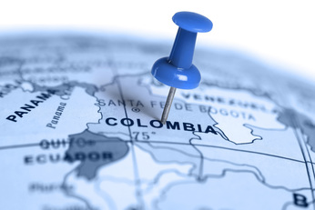 Blue Colombia map with blue map pin