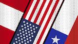 Peru, USA, and Chile Flags Image