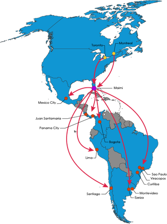 Canada to South America Map