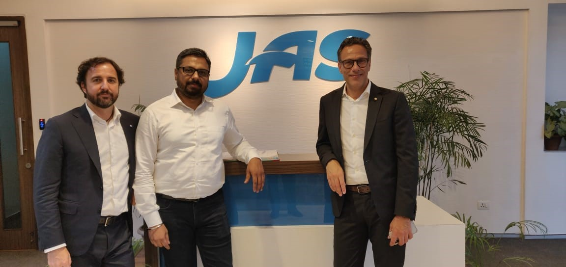 (From left to right) Mr.Alberto Bruni - COO JAS USA, Mr Soman Rajiv Nair - Managing Director JAS India, &Mr Eugenio Fumo - CEO of JAS USA