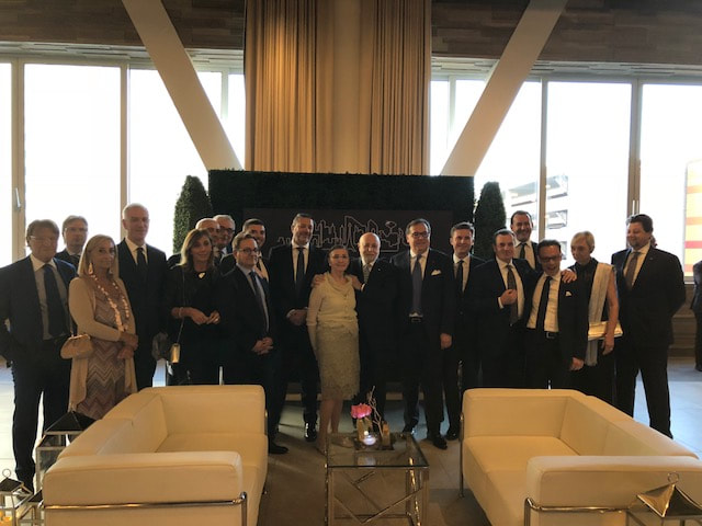Center: Mr Biagio Bruni, Chairman of JAS Worldwide and his wife Alessandra on his right and on his left, Leonardo Baldi, head of JAS Italy - Jet Air Services Spa.