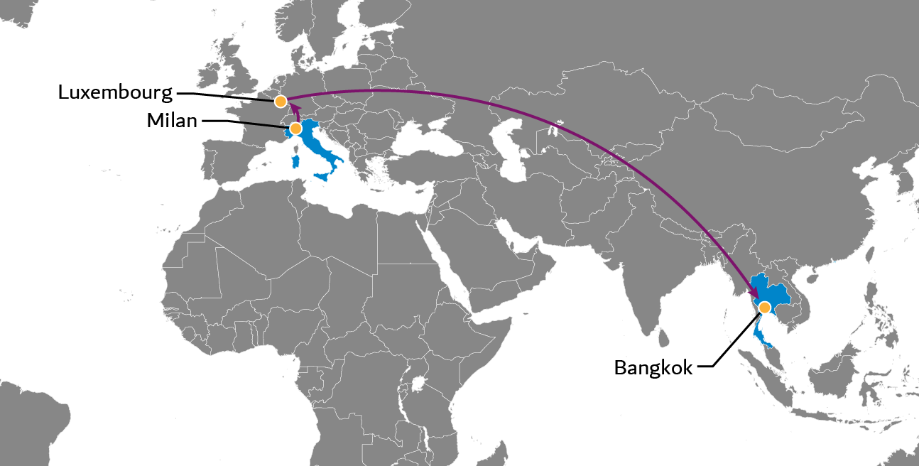 Milan to Bangkok Perishables Flight Service Map