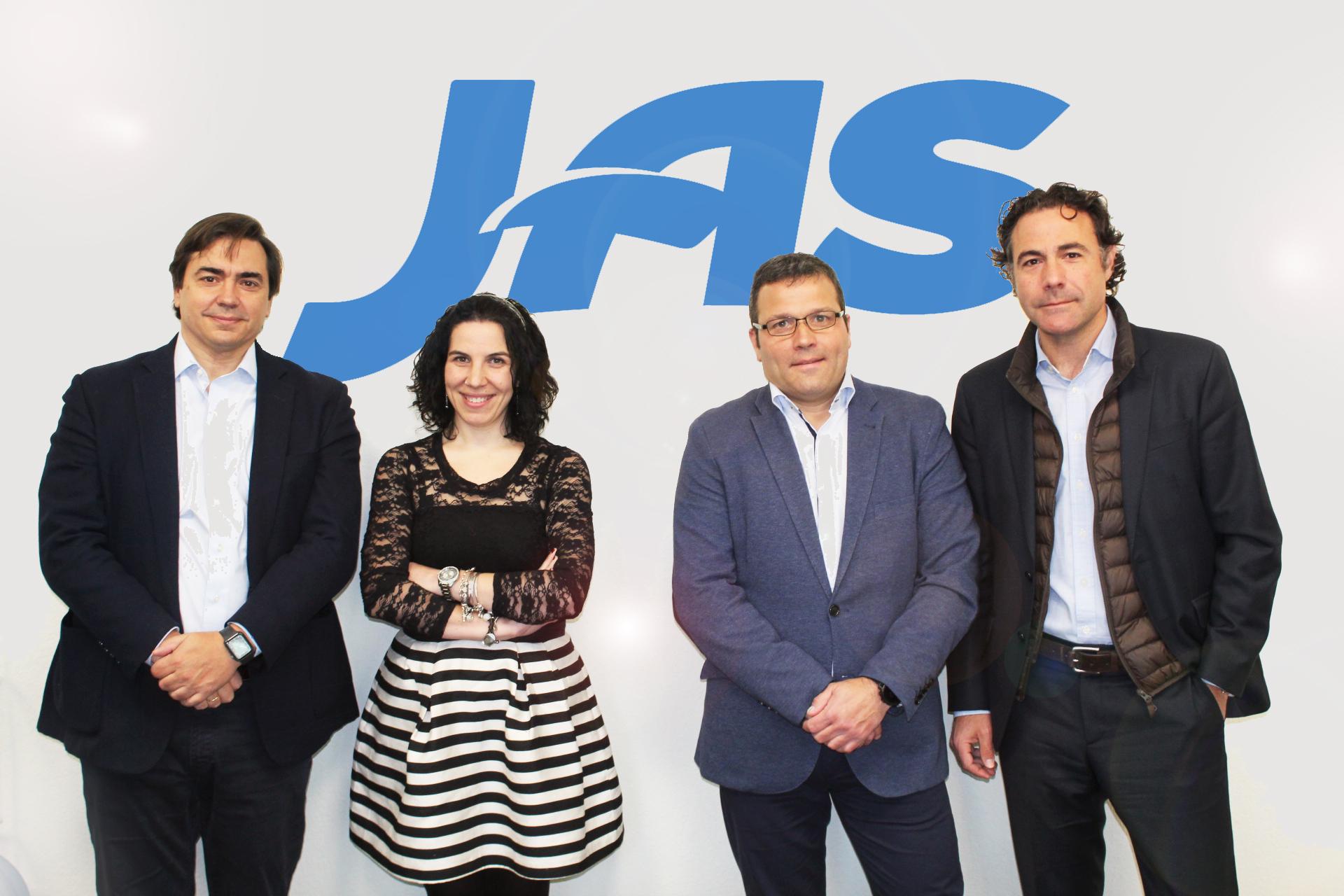 Left side Mr. Javier Riera ( MD JAS SPAIN), Mrs. Karla Herrero (Overseas & Customer Service) Asier Ibarnia (Branch Manager) & Pablo Talledo (Sales Director JAS Spain)