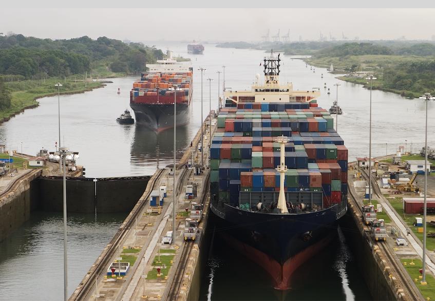 Cargo moving through Panama Canal