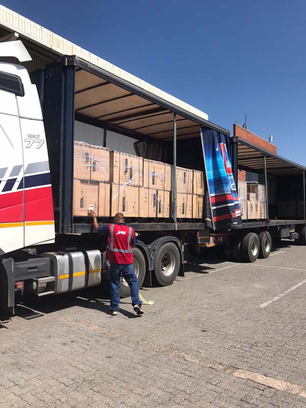 Boxes loaded on a truck