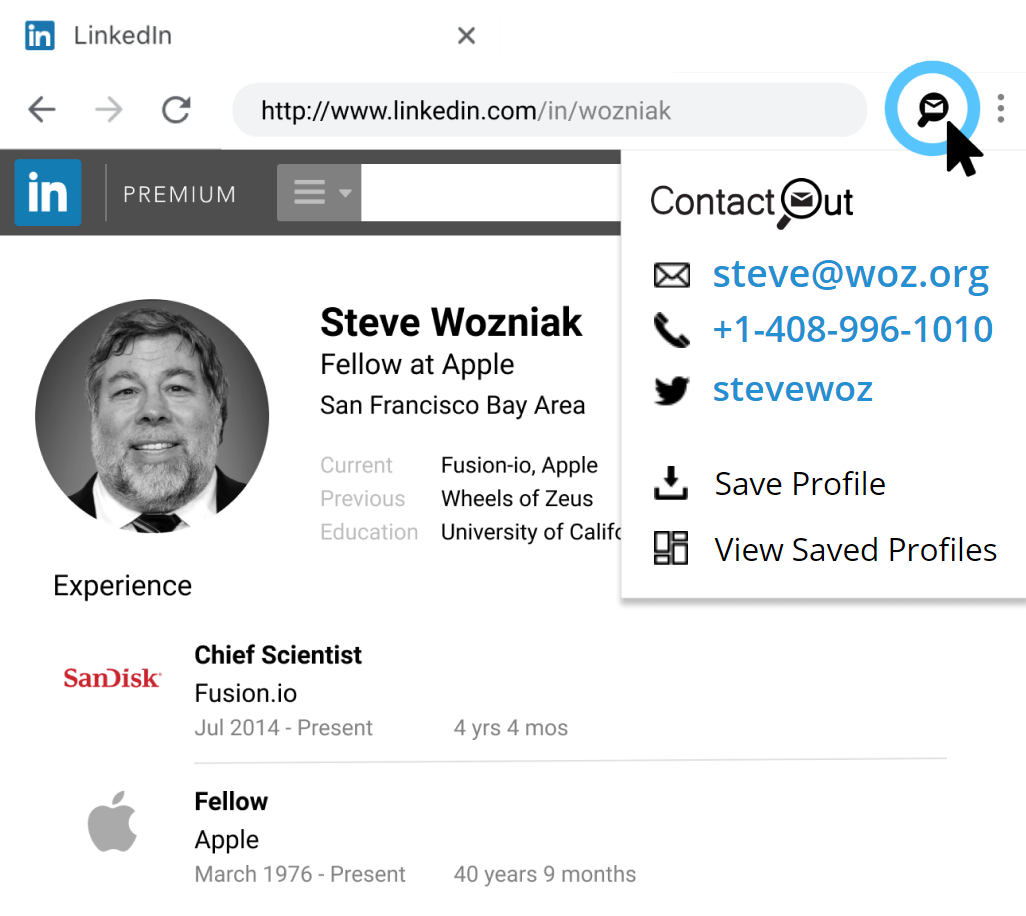 Use ContactOut to get email from LinkedIn profile