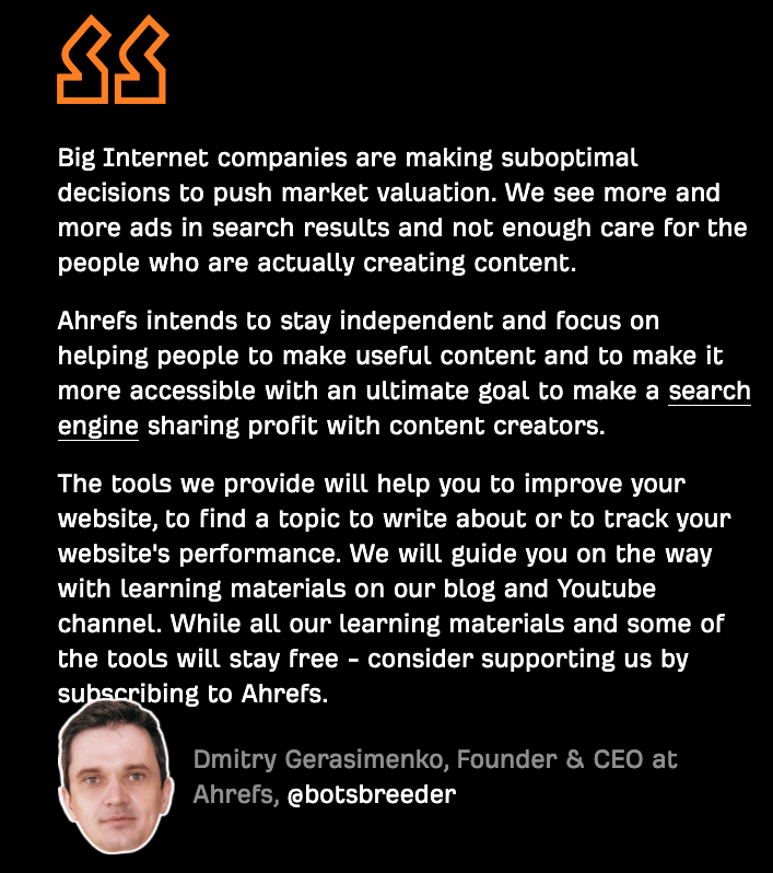 Ahrefs Founders Note