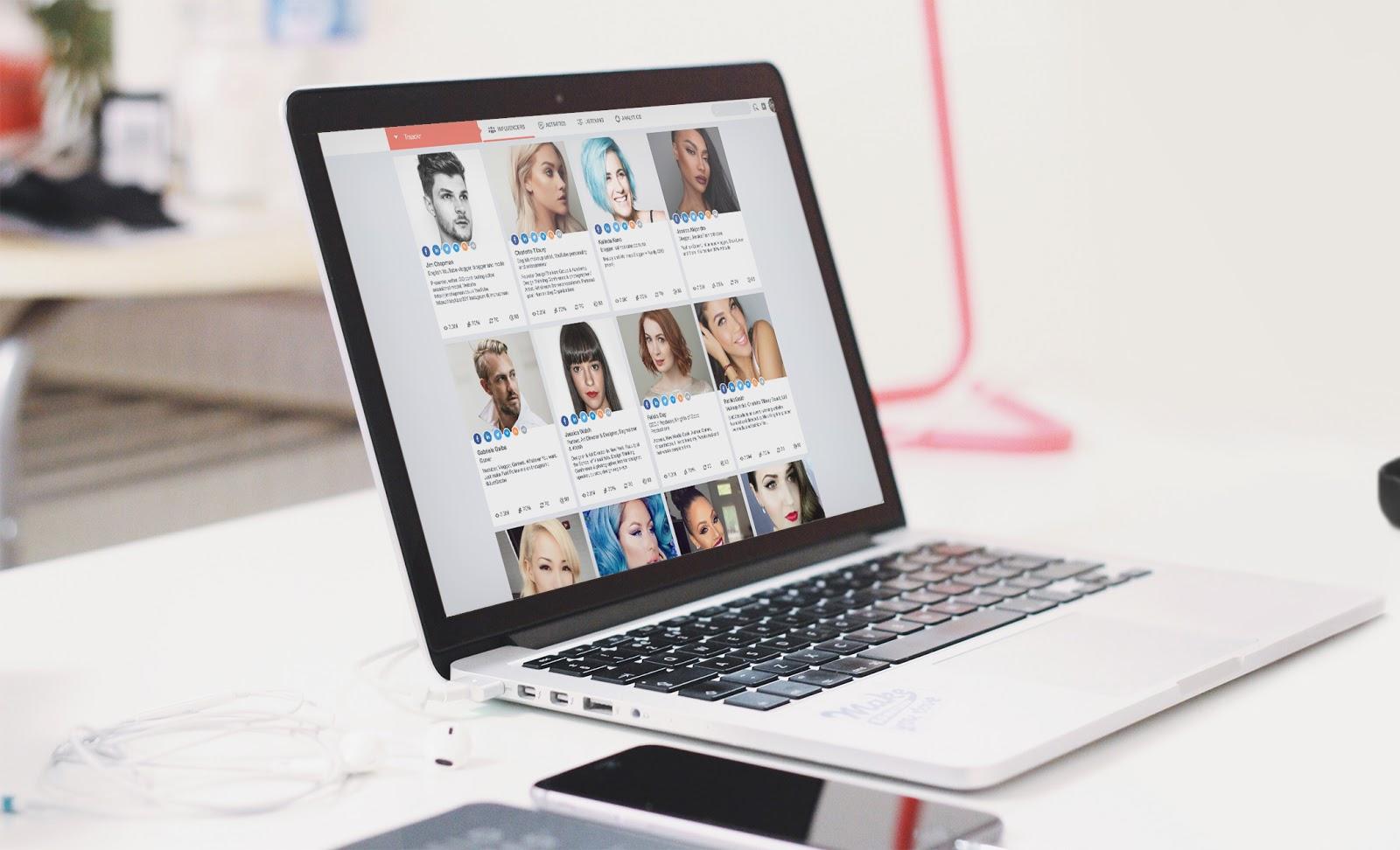 Exemple de la visualisation des profils des influenceurs sur Traackr.