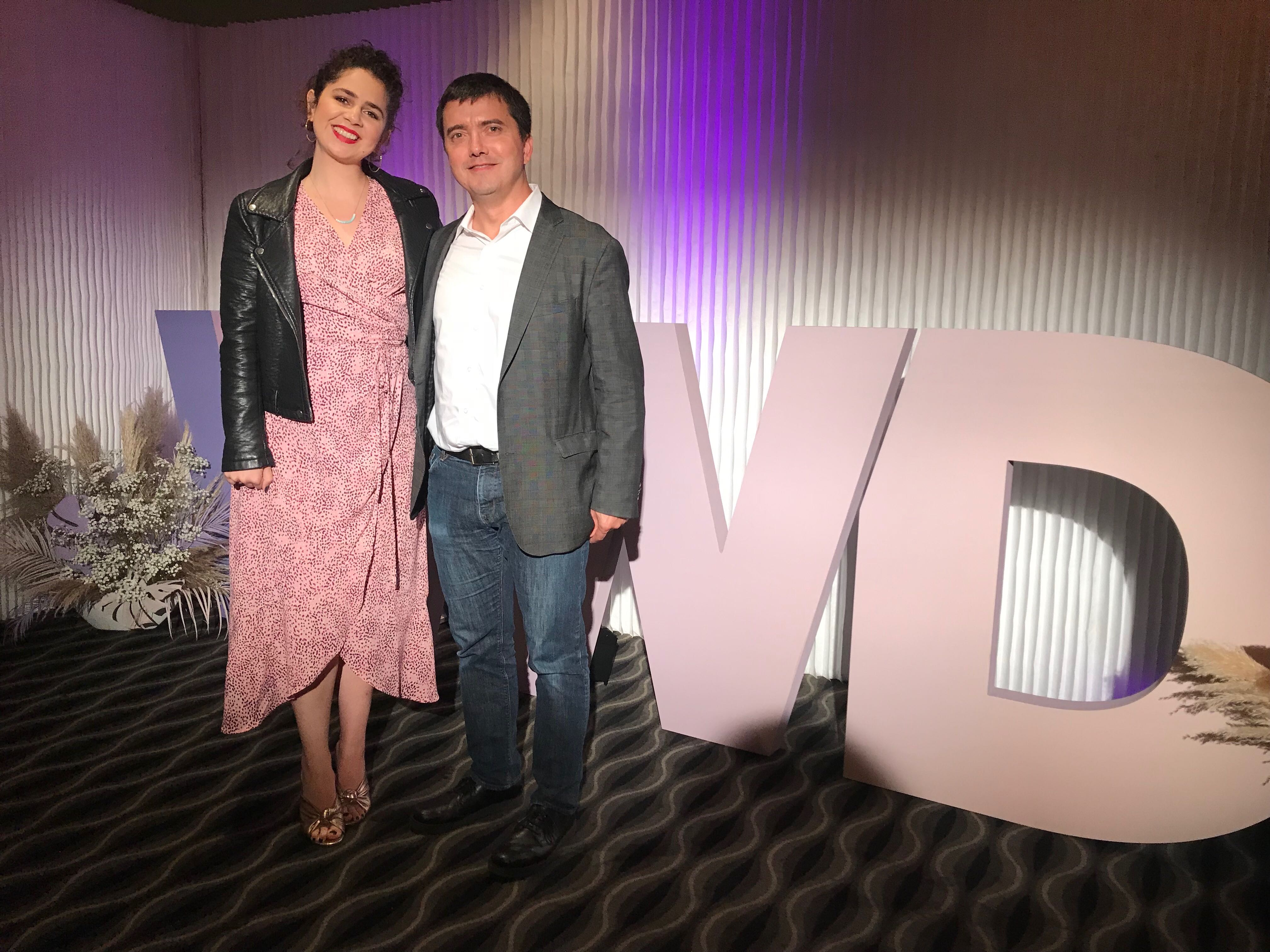 aylor Hiskey, Social Media Director for Urban Decay Cosmetics (UD) and Pierre-Loic Assayag, CEO and Cofounder of Traackr, at WWD's Digital Forum.