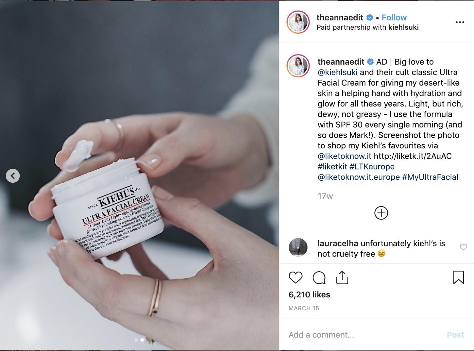 Exemple d'une publication sponsorisée par Anna présentant la crème Ultra Facial de Kiehl's lors de la campagne de marketing d'influence menée avec Traacr
