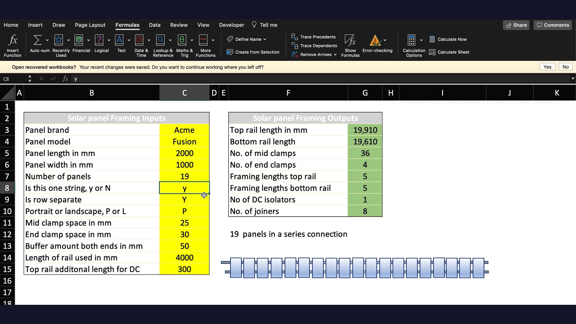 Basic Solar Framing Spreadsheet