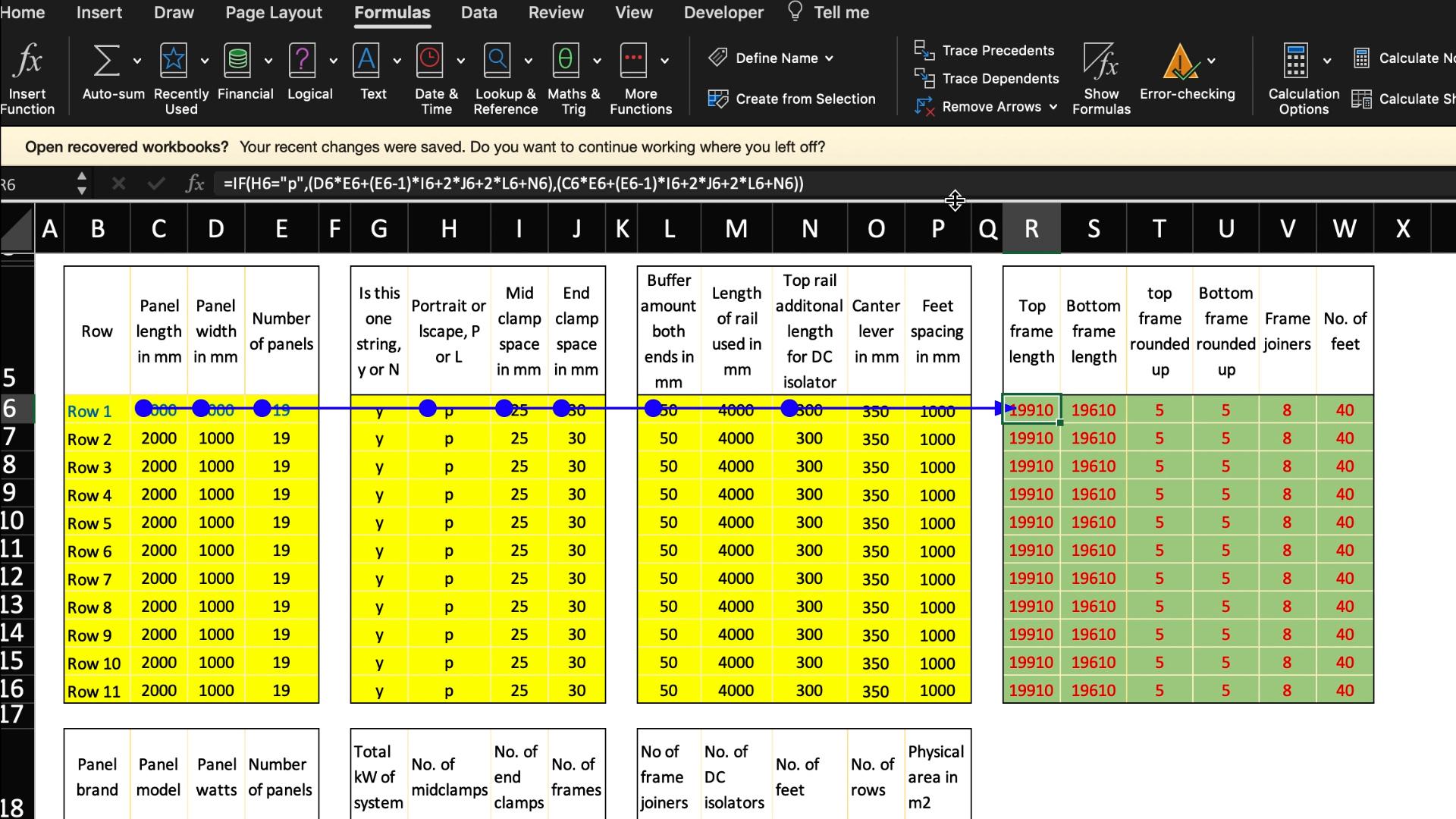 Advanced Solar Framing Spreadsheet