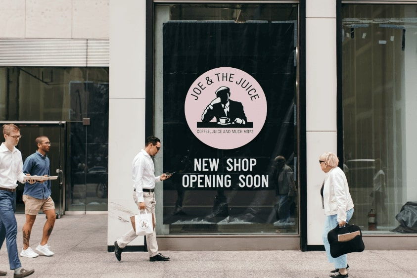 "1350 Avenue of America - one of our first stores in United States with a sign saying: ""New Shop Opening Soon""."