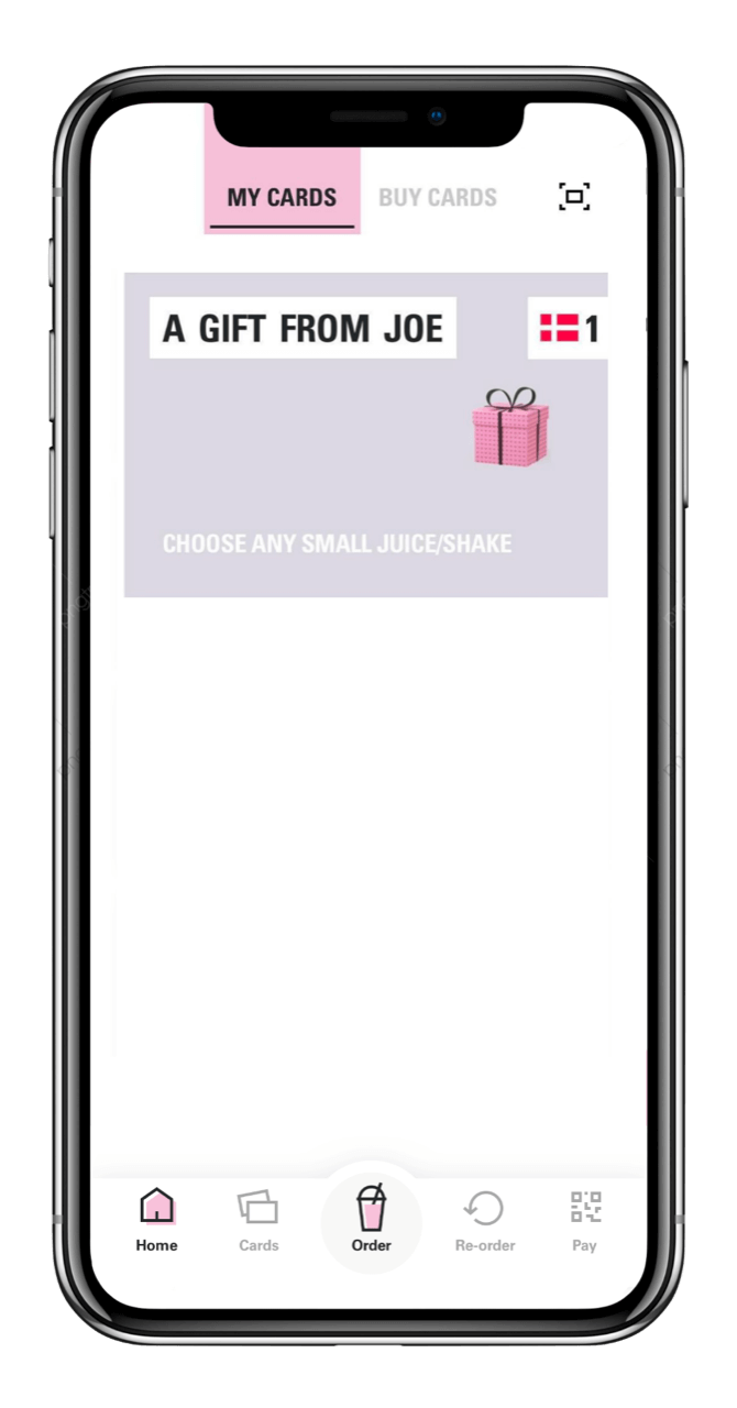 Joe app Gift card page