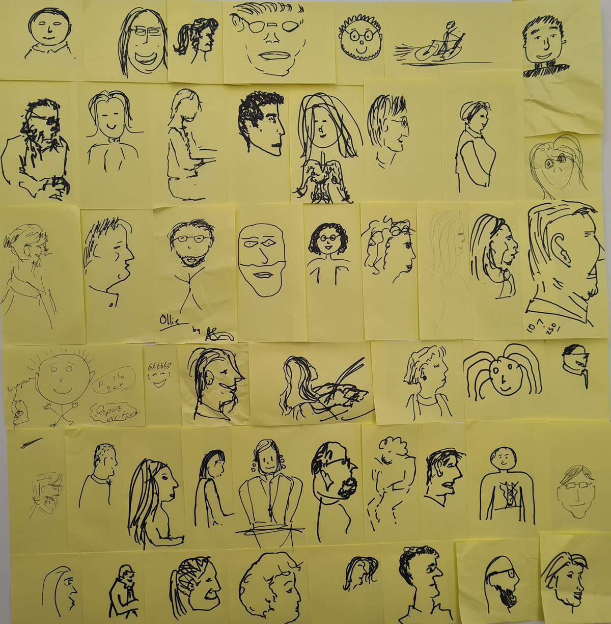 Large grid of face drawings