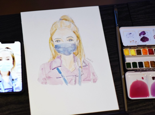Sketch of female wearing face mask