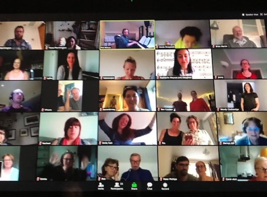 Grid of large Zoom video call
