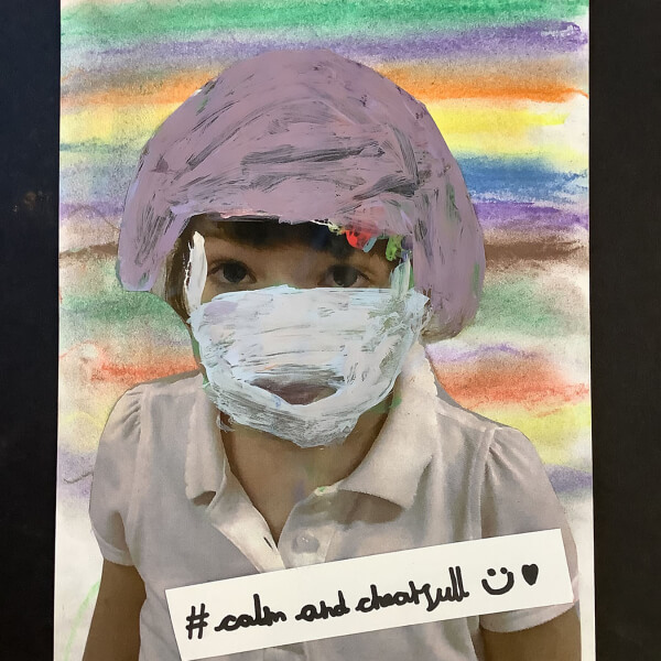#calmandcheerful artwork with child wearing mask
